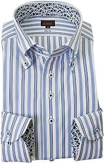 [スタイルワークス] ドレスシャツ ワイシャツ シャツ メンズ 国産 長袖 綿100% スリムフィット ボタンダウン ブルーマルチストライプ 2001 (Sサイズ・裄丈81cm)