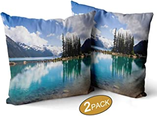 Nine City Emerald Waters of Garibaldi Lake Reflect Bottle Green Tree Silhouettes Cushion Couch Cover Pillow Covers,043088 Decorative Square Accent Pillow Case,22