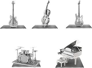 Fascinations Metal Earth Instrument 3D Metal Model Kit Set - Grand Piano , Bass Fiddle, Drum Set, Electric Bass Guitar, Electric Lead Guitar