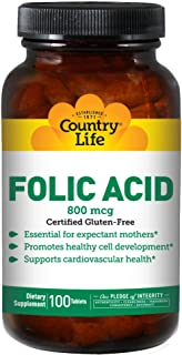 Country Life Folic Acid 800 mcg, 100 Tablets