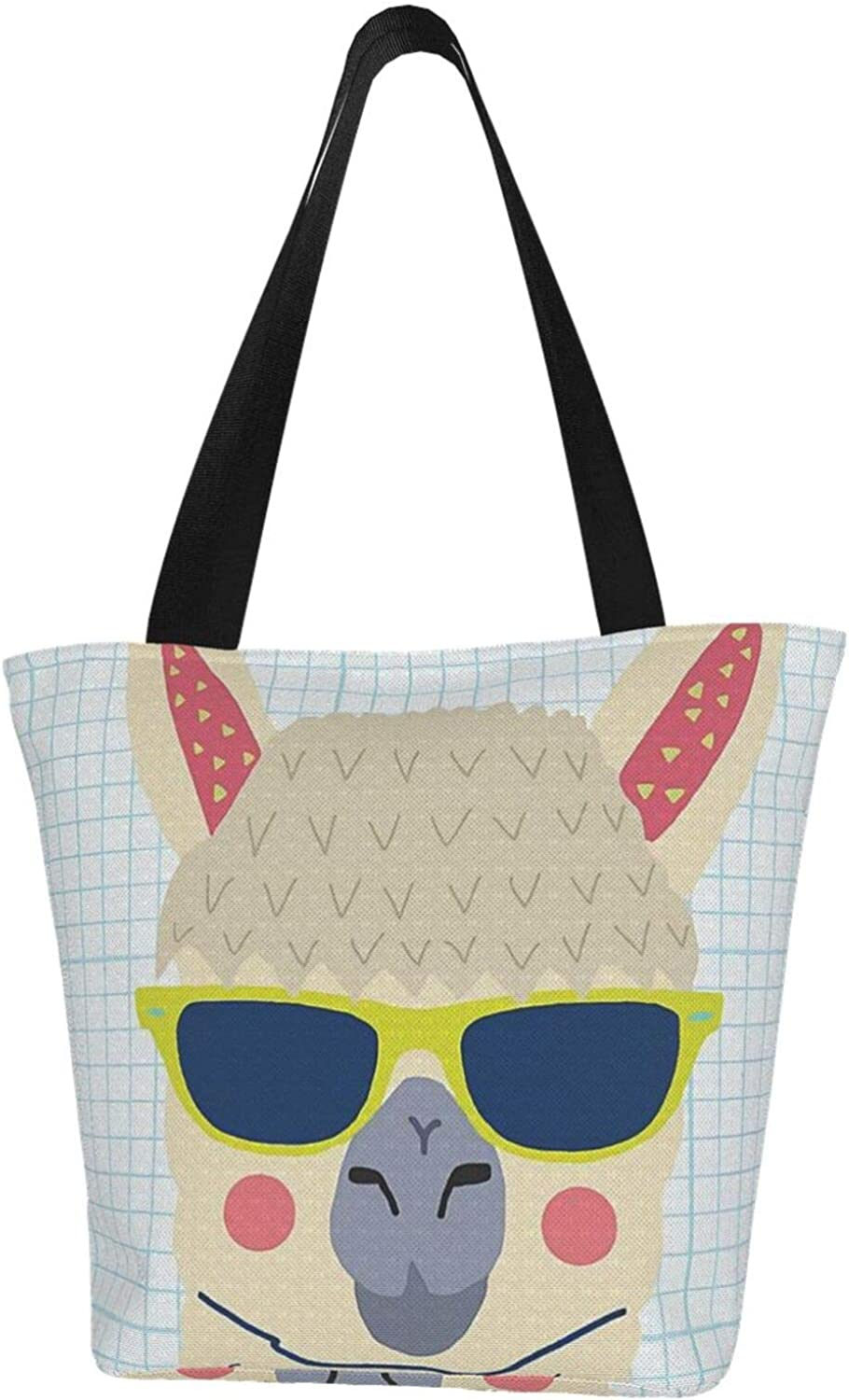 Llama Checked Glasses Are Cool Themed Printed Women Canvas Handbag Zipper Shoulder Bag Work Booksbag Tote Purse Leisure Hobo Bag For Shopping