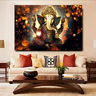 Indian Elephant God Wall Art Posters For Living Room HD Canvas Painting Home Decor Pictures 60x90cm