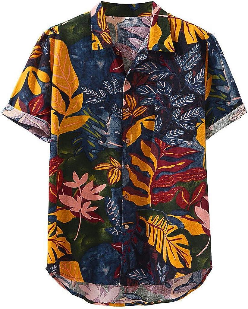 Beshion Hawaiian Shirt for Men Short Sleeve Button up Round Neck Loose Shirts Print Cotton Linen Shirt Pocket Tropical Shirt