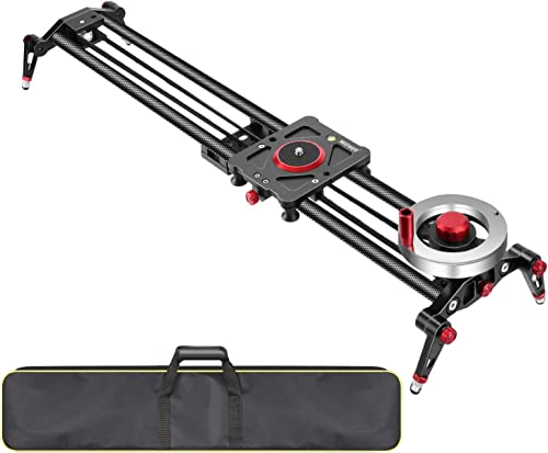 Neewer Camera Slider Video Track Dolly Rail Stabilizer: 31-inch/80cm, Flywheel Counterweight with Light Carbon Fiber ...