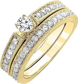 Dazzlingrock Collection 0.48 Carat (ctw) 18K Gold Round White Diamond Ladies Engagement Ring Set 1/2 CT