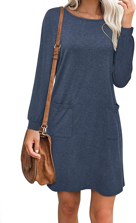 KILIG Women Casual Long Sleeve Dresses Loose T-Shirt Knee Length Dress with Pockets