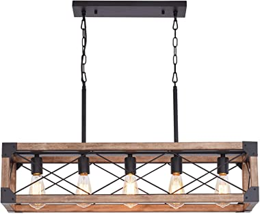 Bribyit Kitchen Island Lighting, 33.5-Inch 5 Lights Farmhouse Linear Chandelier for Dining Room Pool Table Pendant Light Fixt