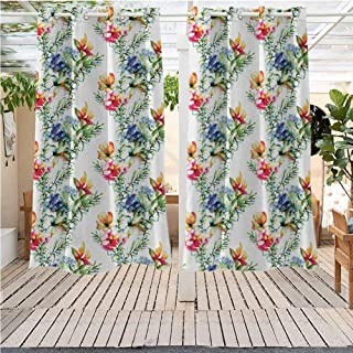 DONEECKL Flower Outdoor Curtain Shabby Chic Design Mimosas Daisies Flowers Leaves Buds Lilacs Work of Art Print Darkening Thermal Insulated Blackout W55 x L45 inch Multicolor