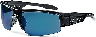 Ergodyne Skullerz Dagr Safety Sunglasses - Black Frame, Blue Mirror Lens