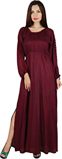 Women Boho Gothic Style Long Maxi Dress Lace Long Sleeves Gown