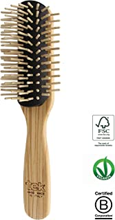 Big removable half-rounded hairbrush in ash wood with short pins - Hand made in Italy