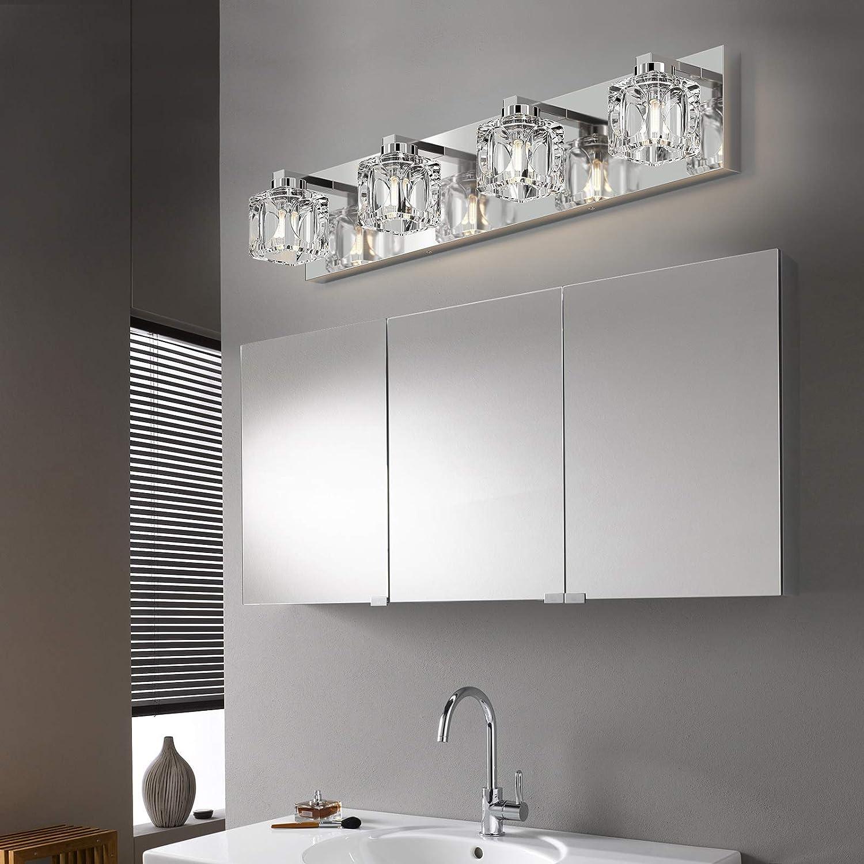 Buy Modern Bathroom Vanity Lights Bathroom Wall Light 4 Lights Stainless Steel Chrome Bath Mirror Lightings Fixtures Over Mirror Led Modern Crystal Glass Vanity Lights Online In Uzbekistan B08v5rvxfv