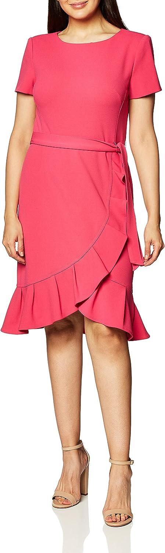 Calvin Klein Ranking TOP12 Women's Ruffle Max 50% OFF Hem Belted Dress