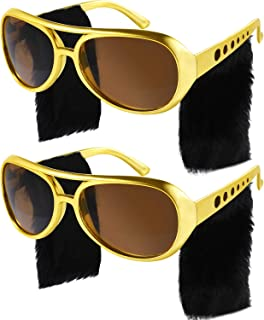 Gejoy 2 Pairs Elvis Style Glasses Rockstar Sunglasses Disco Glasses 50s 60s Costume Sunglasses Retro Glasses for Men Women Party Accessories