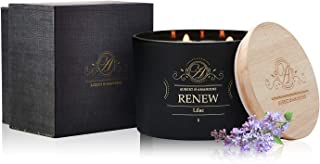 Luxury Scented Soy 3 Wick Candle for Stress Relief & Relaxation High Intensity Aromatherapy (RENEW - Lilac)