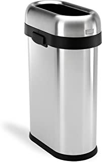 simplehuman 50 Liter / 13.2 Gallon Slim Open Top Trash Can Commercial Grade, Heavy Gauge Brushed Stainless Steel