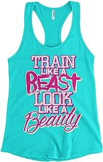 Cybertela Women's Train Like A Beast Look Like A Beauty Racerback Tank Top