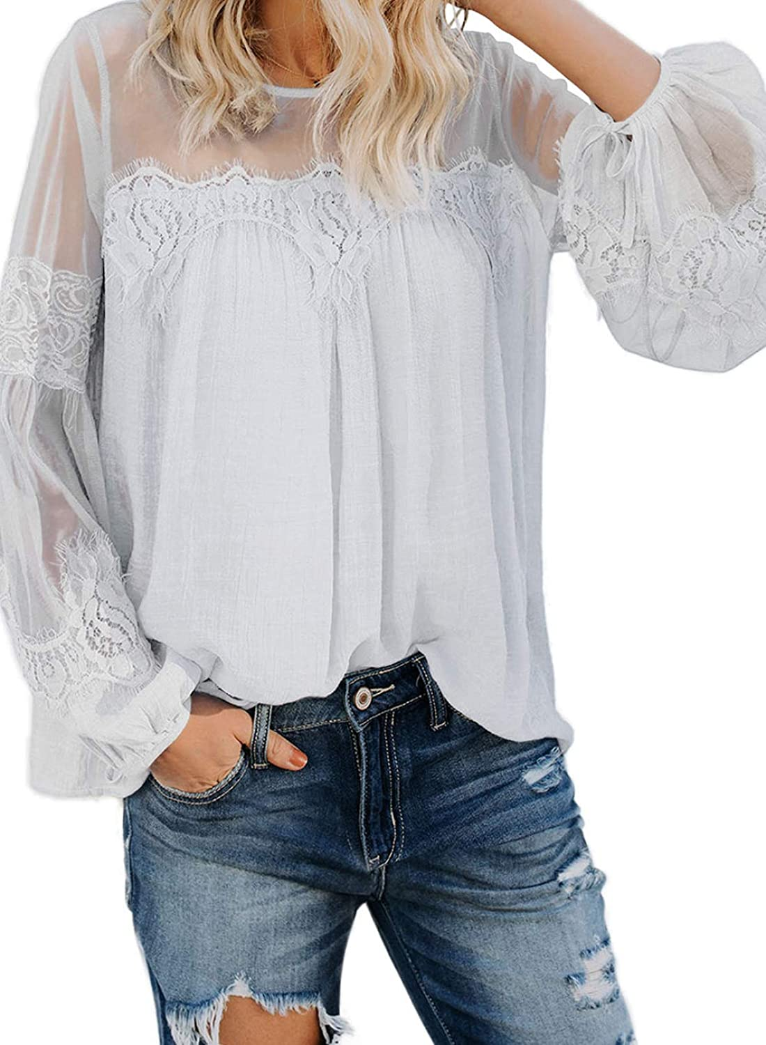 Biucly Womens Casual Lace Crochet Blouses Lantern Long Sleeve Shirts Loose Tops (S-XXL)