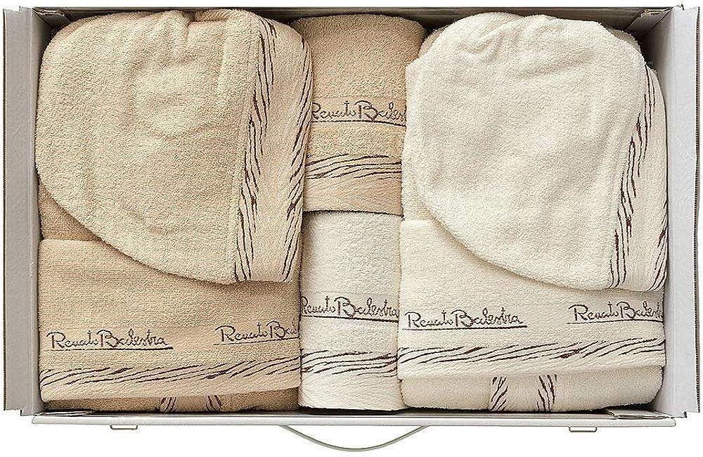 Renato balestra, completo bagno, asciugamani accappatoi, set per uomo e donna, corredo,100% cotone 19445-1-411-2
