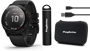 Garmin Fenix 6X Pro (Black with Black Band) Power Bundle with HD Screen Protectors, PlayBetter Portable Charger & Protective Hard Case | 2019 | PulseOx, ClimbPro, Maps, PacePro, Spotify & Music