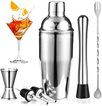 Cocktail Shaker Set, Bartender Kit 25oz Martini Mixer with Built-in Strainer, Measuring Jigger, Muddler, Mixing Spoon - St...