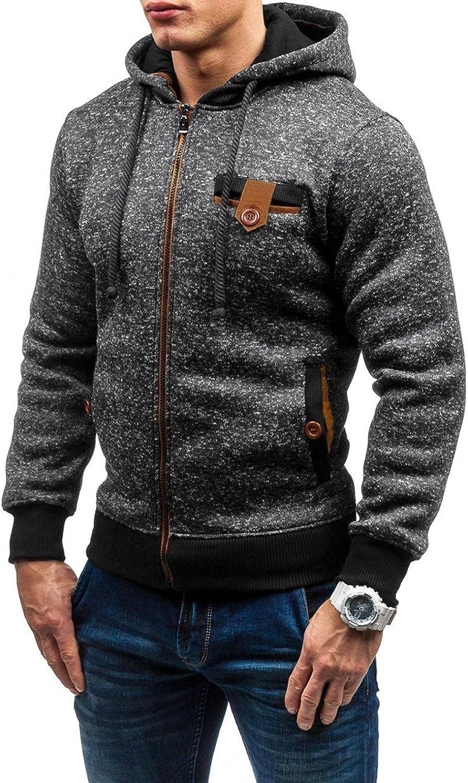 Huangse Men's Novelty Patchwork Full Zip Hoodies Fleece Long Sleeve Casual Fashion Sweatshirt with Pocket Drawstring