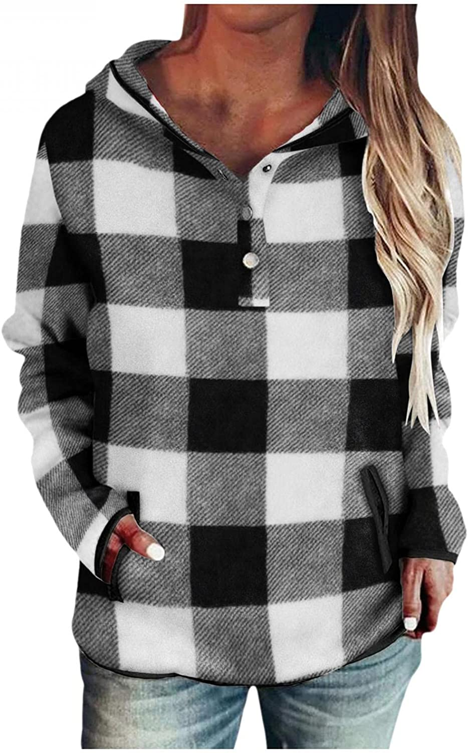 Pullover Hoodies for Women Pullover Sweatshirts Drawstring Hooded Casual Button Down Long Sleeve Plaid Tops with Pockets