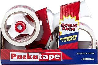 Packatape | Verpakking Tape Gun + 2x Fragiele Tape Roll 48mm x 60m | Pakket Tape Dispenser met Cutter, Tape Gun voor verpa...