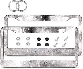 Bling License Plate Frame, Luxury Handcrafted Car Frame Plate Rhinestone Bling,with Ignition Button Unique Gift for Women Girls (Silver)
