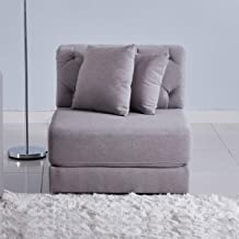 Home Box Emotion Armless Chair With2 Cushions- Light Grey