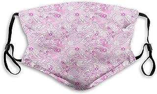 Bekvämt tryckt Mask, Paisley, traditionellt mönster med många växtmönster vilda blomblad tusenskönor, rosa vit, vindtät an...