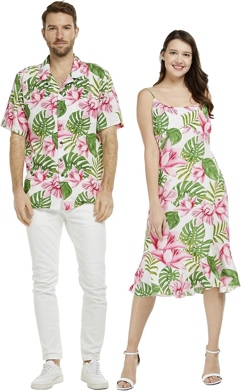 Couple Matching Hawaiian Luau Shirt Mermaid Dress Simply Blue Leaves
