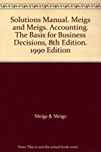 Solutions Manual. Meigs and Meigs. Accounting. The Basis for Business Decisions, 8th Edition. 1990 Edition