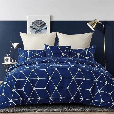 RUIKASI, Parure de lit en microfibre 135 x 200 cm + 1 taie d'oreiller 50 x 80 cm, lit simple, 4 saisons – Treillis bleu