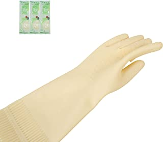 All Natural High Quality Latex Rubber Gloves Reusable Durable Medium 3 Pairs No Artificial Coloring Non-Sticky Ideal House...