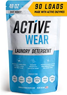 Active Wear Laundry Detergent - Formulated for Sweat and Workout Clothes - Natural Performance Sport-Wash Concentrate - Enzyme Booster Deodorizer - Powder Wash for Activewear Gym Apparel (90 Loads)
