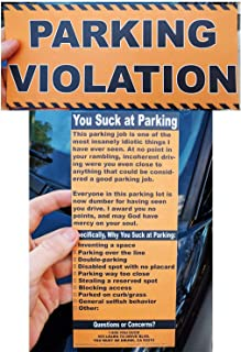 Full-Size Fake Parking Ticket by Witty Yeti 20 Pack. Both Realistic & Hilarious. Punish The Idiots Who Park Like Aholes. H...