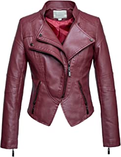 Women's Fashion Tailored Zip-Up Faux Leather Quilted Racer Jacket