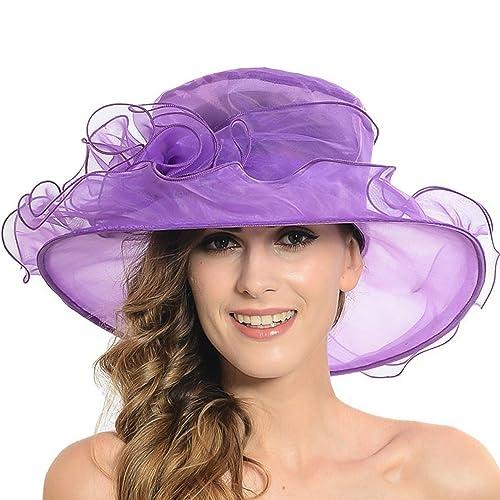 Discoball Women s Sun Hat - Floral Organza Flat Large Wide Brim Gauze  Kentucky Derby Cap - 065834f1cb69