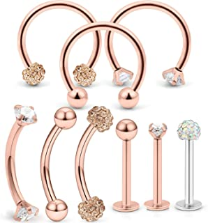 Hoeudjo Piercing Kit Septum Hoop Rings 16G Surgical Steel Labret Studs Body Piercing Jewelry for Women Men Lip Eyebrow Nose Tragus Cartilage Helix 9 Pieces