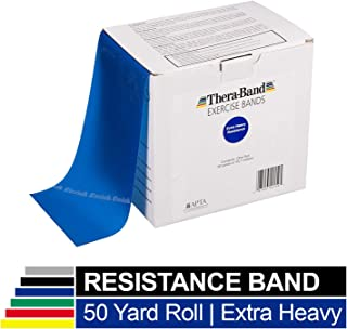 TheraBand Resistance Bands, 45.5m Roll Professional Latex Elastic Band For Upper & Lower Body & Core Exercise, Physical Therapy, Pilates, Home Workout, Rehab, Blue, Extra Heavy, Intermediate Level 5