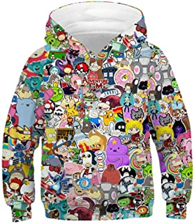 OPCOLV Teen Boys Girls 3D Printed Hooded Sweatshirt Casual Graphic Pullover Hoodies with Pocket 6-16Y
