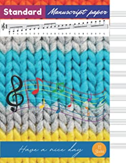Standard Manuscript Paper, Striped colorful knit sweater texture cover, 12 staves per page, 100 pages - Large(8.5 x 11 inc...