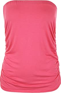 Ladies Strapless Boob Tube Bandeau Sleeveless Ruched Vest Top
