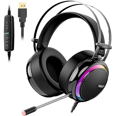 Tronsmart Glary Auriculares Gaming para PS4, Cascos Gaming Sonido Envolvente 7.1- Driver Audio de 50 mm-Profesional Headset Gaming con Micrófono-Cancelación de Ruido para PS4/Nintendo Switch/Mac/PC