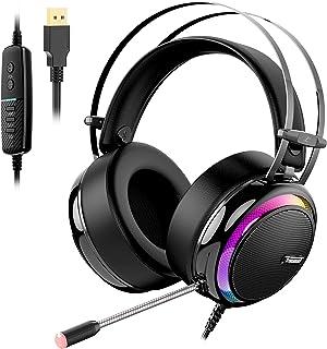 Tronsmart Auriculares Gaming Sonido Envolvente 7.1-Drivers de Transductores 50mm-Profesional con Micrófono Diadema-Cancela...