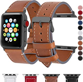 Fullmosa Compatible Apple Watch Band 44mm 42mm 40mm 38mm Genuine Leather iWatch Bands, 42mm 44mm Light Brown + Smoky Grey Buckle