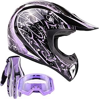 Typhoon Adult ATV Helmet Goggles Gloves Gear Combo Purple Splatter (Large)