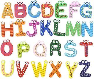 2 Kit Magnétique Chiffres Alphabet Bois Aimant de Réfrigérateur Jouet D'apprentissage Précoce