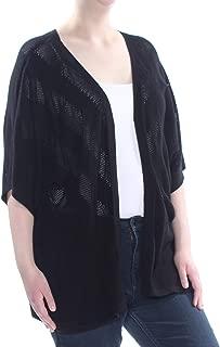 VINCE CAMUTO Womens Chevron Pointelle Dolman Cardigan Color Rich Black Size 2X